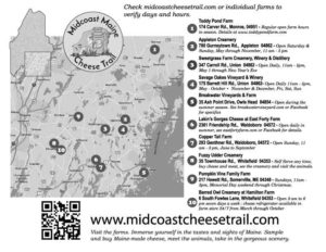 Maine Cheese Trail Map 2018